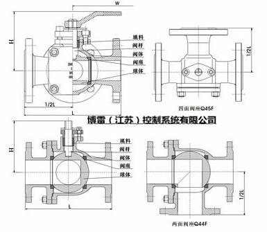 q44f-16c q44f-25c,dn100l型三通球阀 型号 公称通径 dn(mm) 尺寸(mm)图片